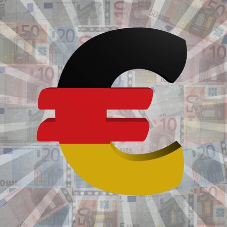 Euro Symbol With Luxembourg Flag On Euro Currency Illustration Stock