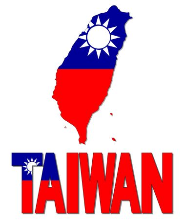 taiwanese: Taiwan map flag and text illustration Stock Photo