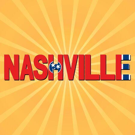 nashville: Nashville flag text with sunburst illustration Stock Photo