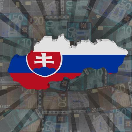 slovakian: Slovakia map flag on euros sunburst illustration Stock Photo