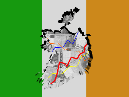 ireland map: Ireland map with flag and graphs on Euros illustration