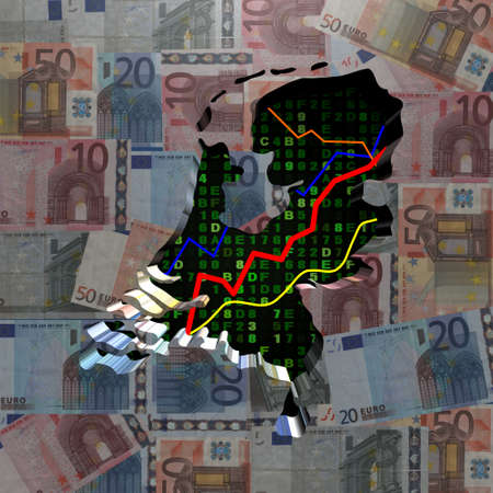 netherlands map: Netherlands map with hex code and graphs on euros illustration Stock Photo