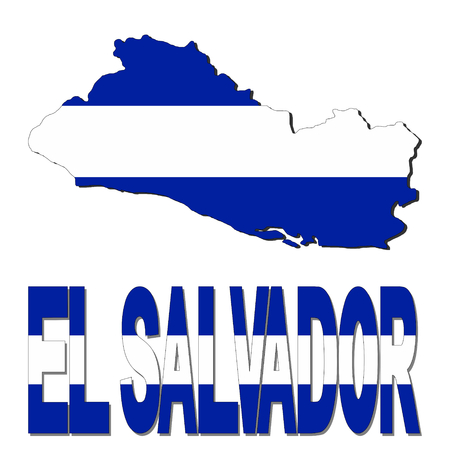 el salvador: El Salvador map flag and text illustration Stock Photo