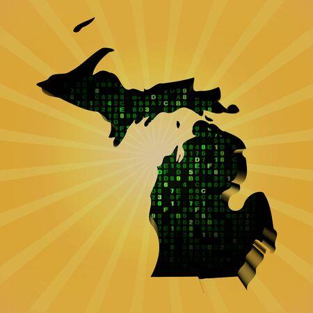 michigan: Michigan sunburst map with hex code illustration