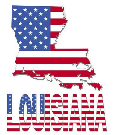 louisiana flag: Louisiana map flag and text illustration