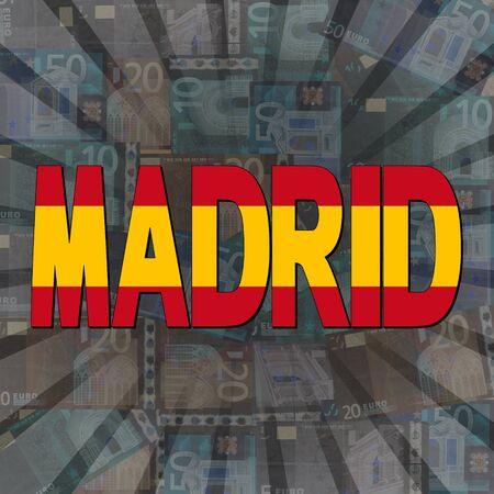 madrid: Madrid flag text on Euros sunburst illustration