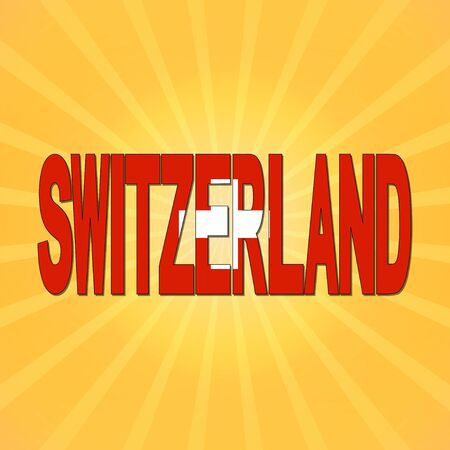 switzerland flag: Switzerland flag text with sunburst illustration
