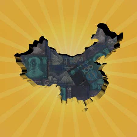 yuan: China map on Yuan sunburst illustration