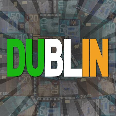 irish cities: Dublin flag text on Euros sunburst illustration