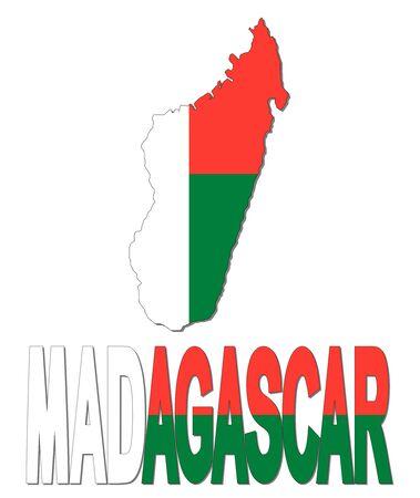 madagascar: Madagascar map flag and text illustration
