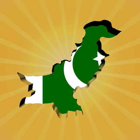 Pakistan: Pakistan sunburst map with flag illustration Stock Photo