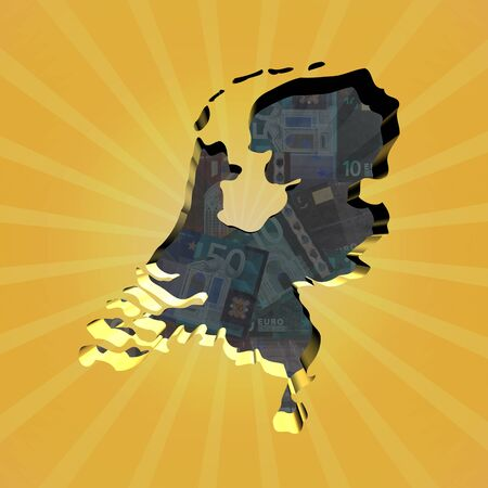 netherlands map: Netherlands map on euros sunburst illustration
