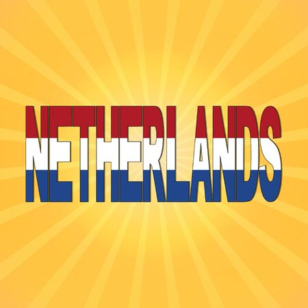 netherlands flag: Netherlands flag text with sunburst illustration