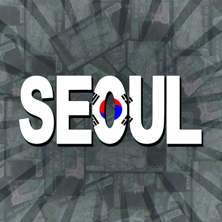 seoul: Seoul flag text on Won sunburst illustration
