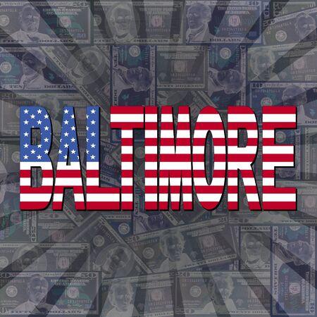baltimore: Baltimore flag text on dollars sunburst illustration