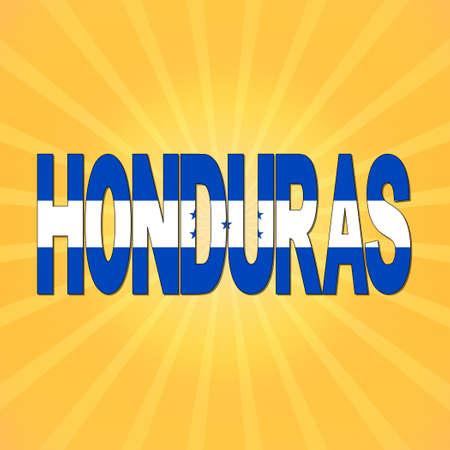 honduras: Honduras flag text with sunburst illustration