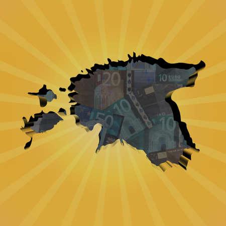 estonia: Estonia map on euros sunburst illustration