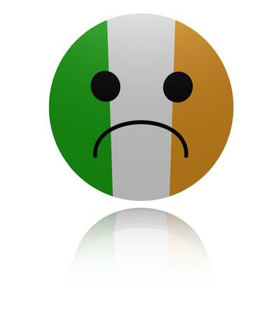 sorrowful: Irish flag sad icon with reflection illustration