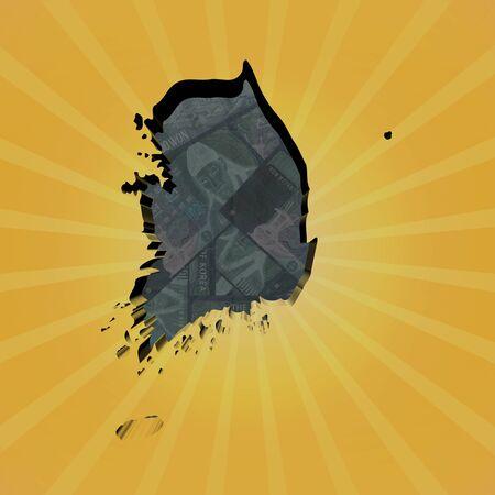 south asian: South Korea map on won sunburst illustration Stock Photo