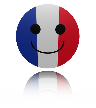 french flag: French flag happy icon with reflection illustration
