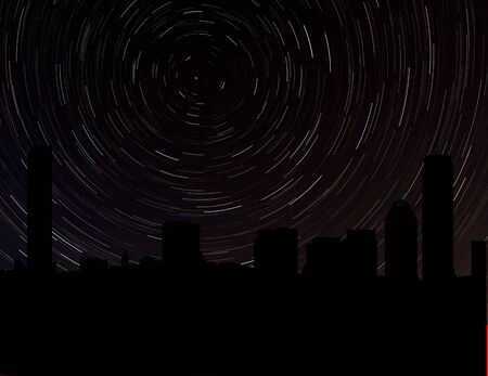 stargazing: Boston skyline silhouette with star trails illustration