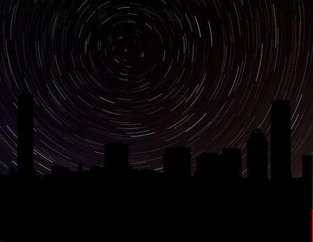 Boston skyline silhouette with star trails illustration