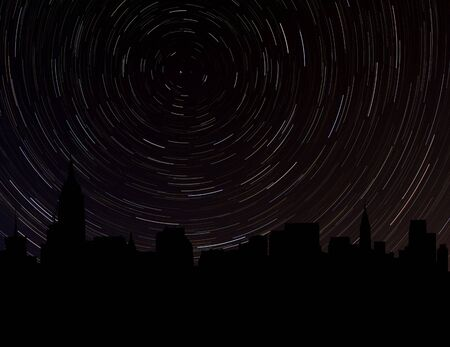 manhattan skyline: Midtown Manhattan skyline silhouette with star trails illustration