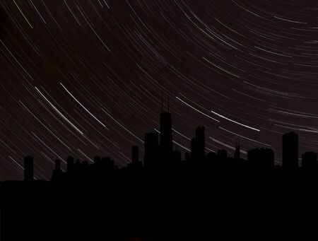 stargazing: Chicago skyline silhouette with star trails illustration