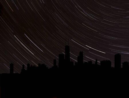 chicago skyline: Chicago skyline silhouette with star trails illustration