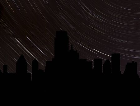 stargazing: Dallas skyline silhouette with star trails illustration