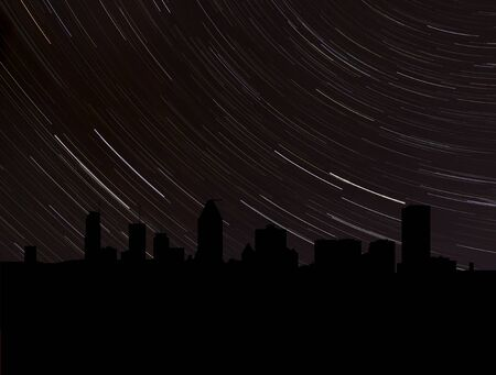 long night: Montreal skyline silhouette with star trails illustration