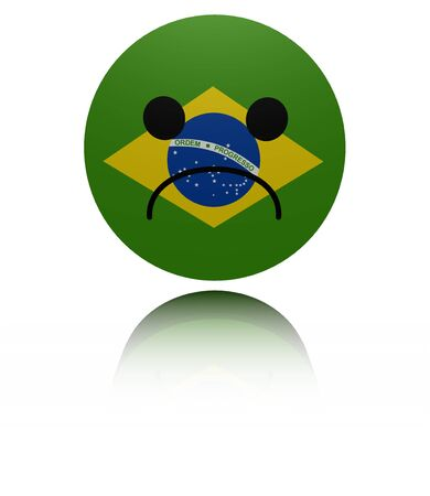 sorrowful: Brazil flag sad icon with reflection illustration