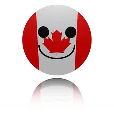joyous: Canada happy icon with reflection illustration