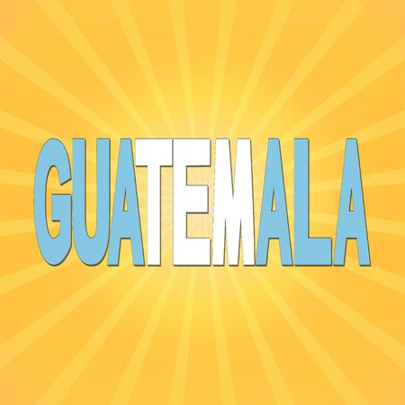 bandera de guatemala: Guatemala bandera texto con rayos de sol ilustraci�n Foto de archivo