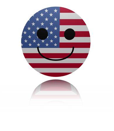 joyous: happy icon with reflection illustration Stock Photo