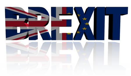 Brexit tekst met Britse en Eu vlaggen illustratie Stockfoto