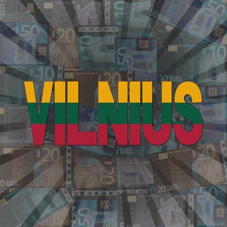 vilnius: Vilnius flag text on Euros sunburst illustration