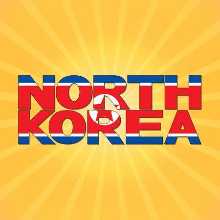 korea flag: North Korea flag text with sunburst illustration