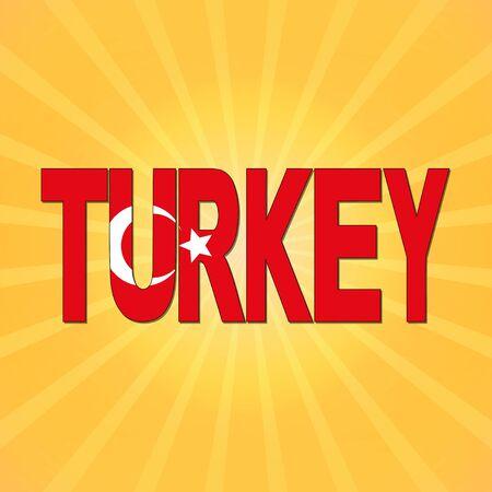turkey flag: Turkey flag text with sunburst illustration Stock Photo