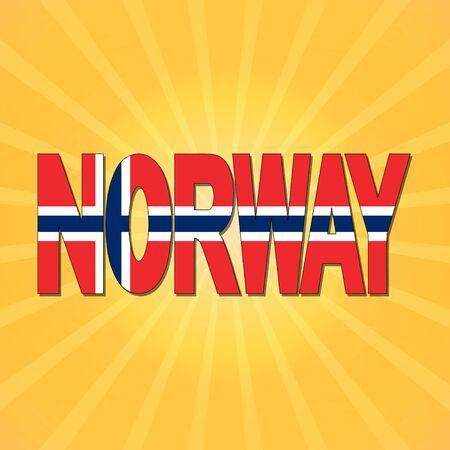 norway flag: Norway flag text with sunburst illustration Stock Photo