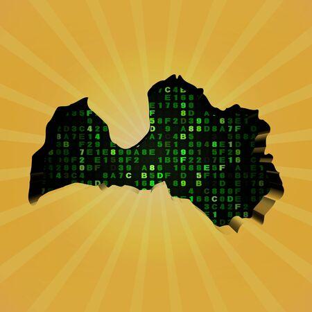 latvia: Latvia sunburst map with hex code illustration Stock Photo