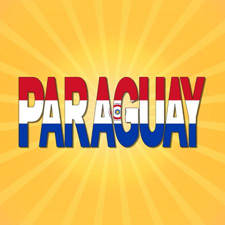 bandera de paraguay: Paraguay bandera texto con rayos de sol ilustración
