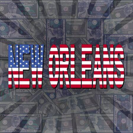 new orleans: New Orleans flag text on dollars sunburst illustration