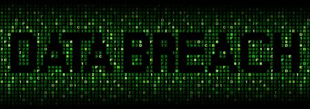 cyber war: Data Breach text on hex code illustration