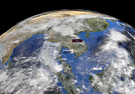 flagpoles: Cambodia flag on pole on earth globe illustration  Elements of this image furnished by NASA