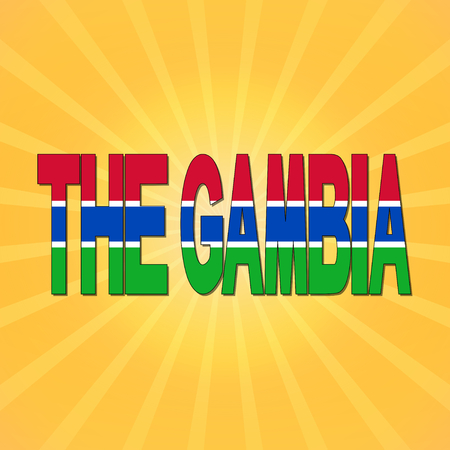 gambia: The Gambia flag text with sunburst illustration Stock Photo
