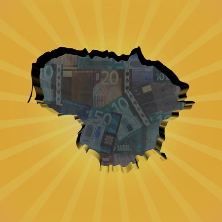 lithuania: Lithuania map on euros sunburst illustration