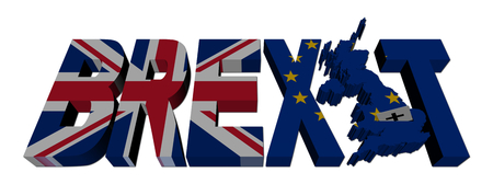 eu: Brexit text with British and Eu flags illustration