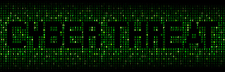 cyber warfare: Cyber threat text on hex code illustration Stock Photo
