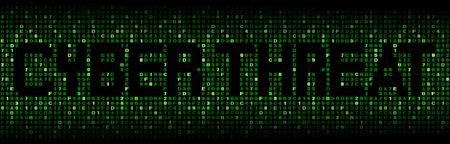 explocion: Texto amenaza cibernética en código hexadecimal ilustración Foto de archivo